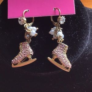 Betsy Johnson pink skate earrings